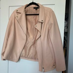 Pink faux leather moto jacket